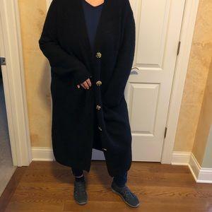 Black Long Soft Stretchy Warm Duster Cardigan